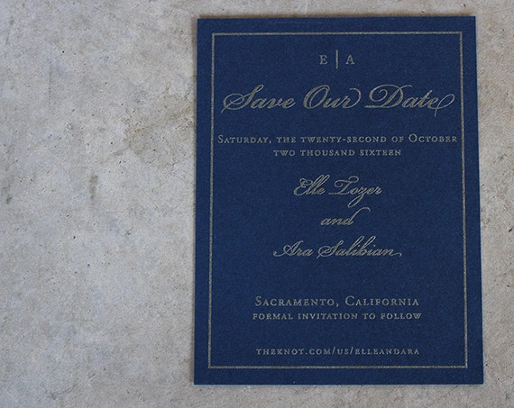 Modern Flourish and Frame Save the Date Cards