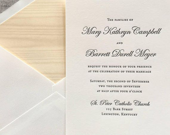 Gray Simplicity letterpress wedding invitation sample