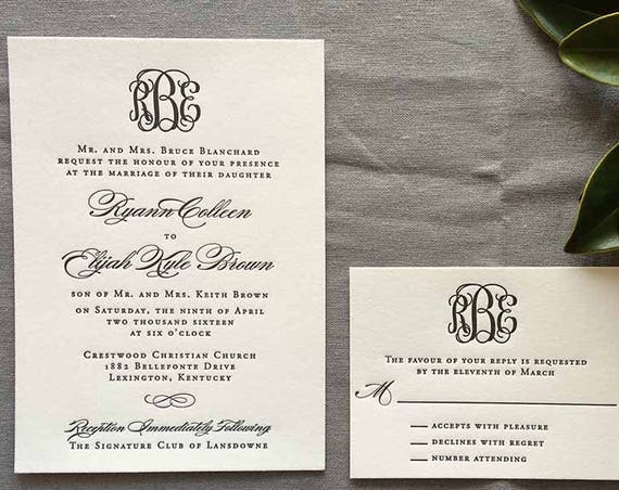 Classic Monogram letterpress wedding invitation