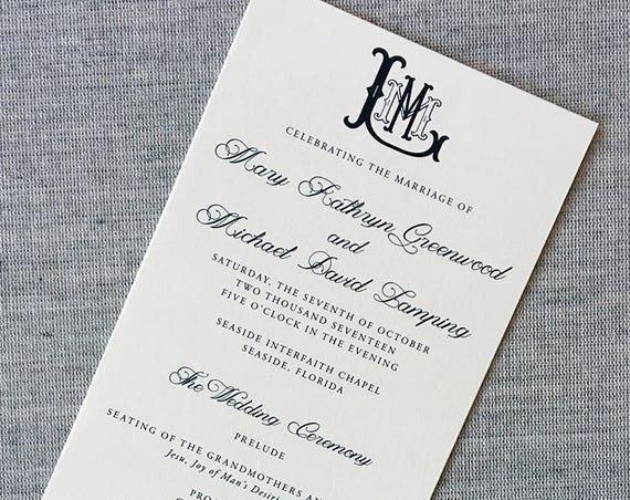 New Victorian Monogram tea length wedding ceremony program