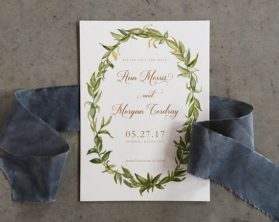 Watercolor Greenery Save the Date Cards with envelopes