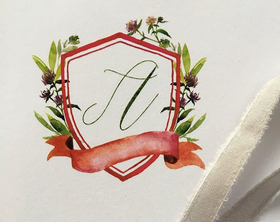 Watercolor Crest personalized memo pads