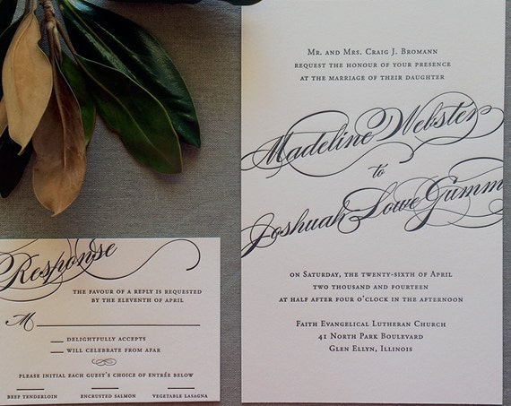Madeline letterpress wedding invitation