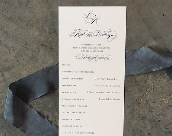 Elegant Calligraphy tea length wedding ceremony program