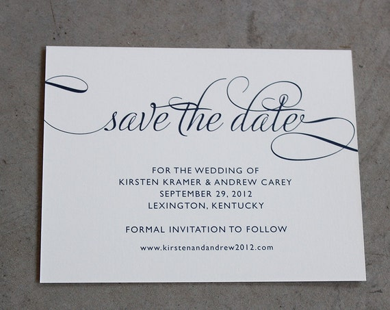 Classic Calligraphy Save the Date Cards