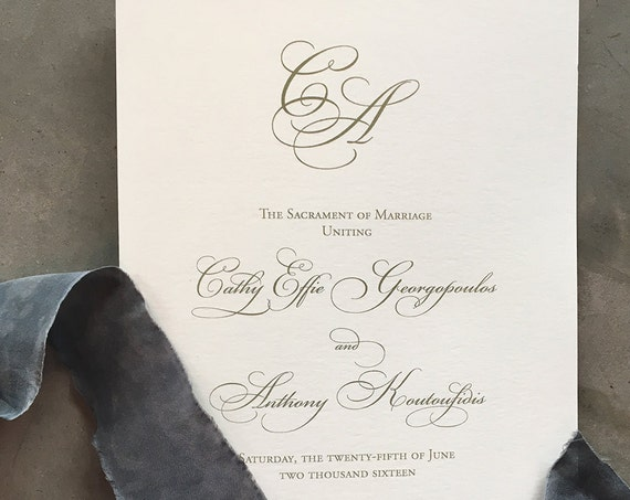Elegant Calligraphy folded wedding ceremony program