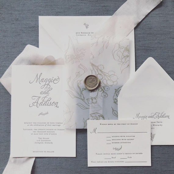Beautiful Branches letterpress wedding invitation