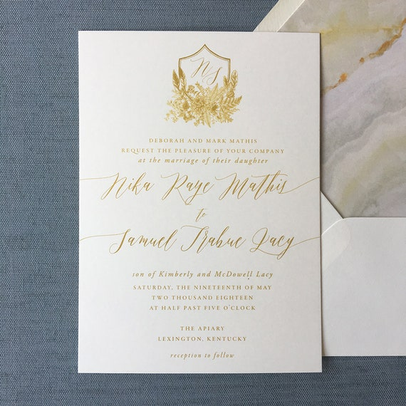 Wildflower Boho Crest wedding invitation suite in bright gold