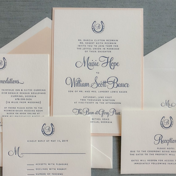 Letterpress Bluegrass Charm wedding invitation in navy and blush