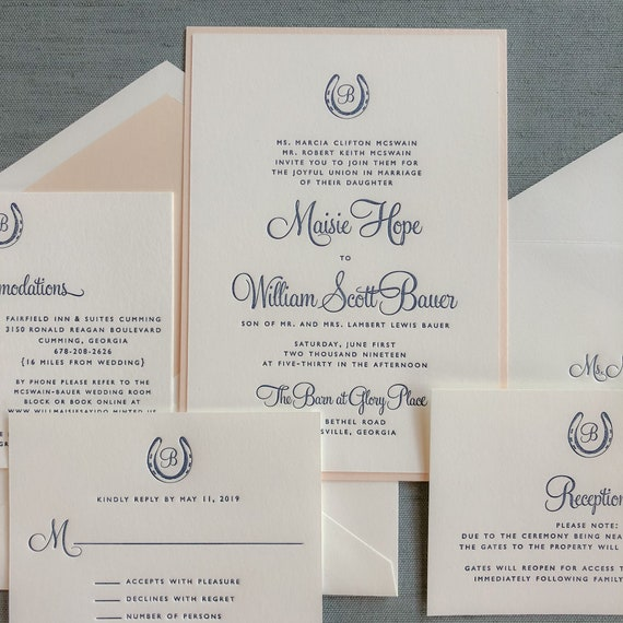 Bluegrass Charm letterpress wedding invitation (Sample)