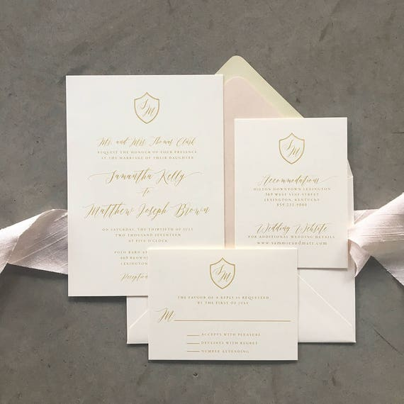 Classic Crest Bright Gold thermography wedding invitation sample