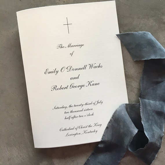 Simple Cross folded wedding ceremony program