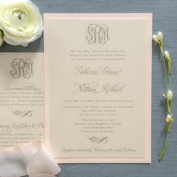 Blush and Gold Engraved Monogram Sample