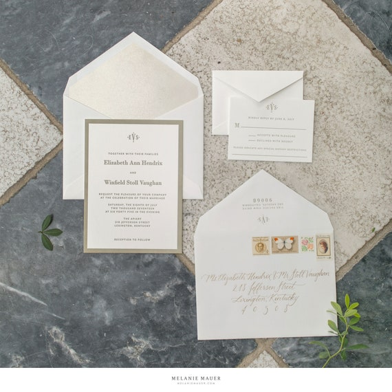 Classic Vaughan letterpress wedding invitations