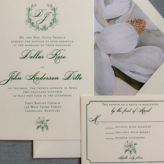 Sweet Magnolia wedding invitation