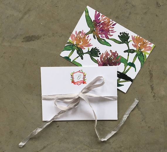 Wildflower Watercolor Crest personalized note cards