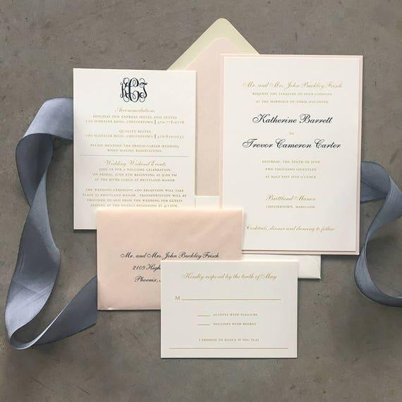 Classic Monogram tea length wedding invitation