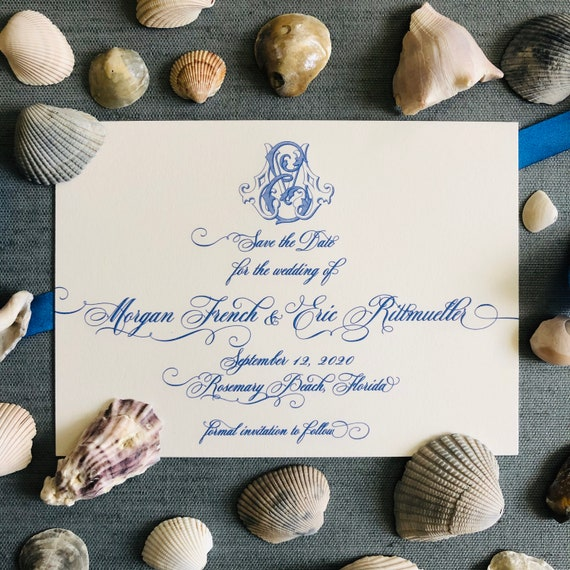 Engraved Victorian Monogram and Traditional Script Save the Date Cards