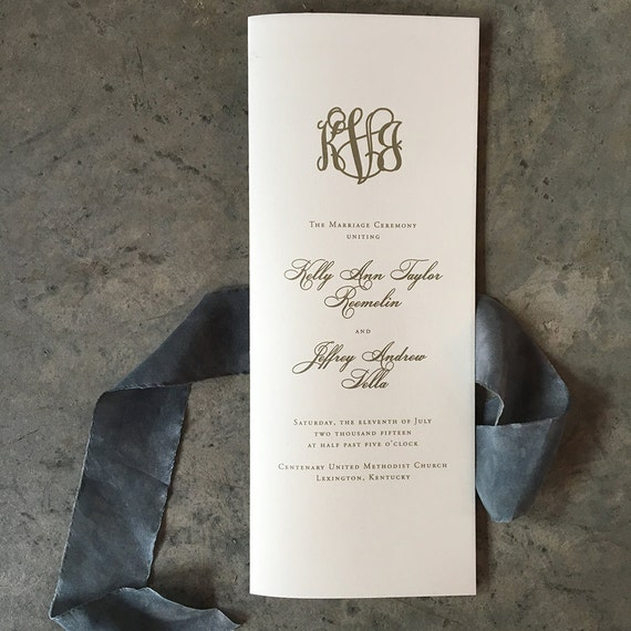 Classic Mongram tea length folded wedding ceremony program