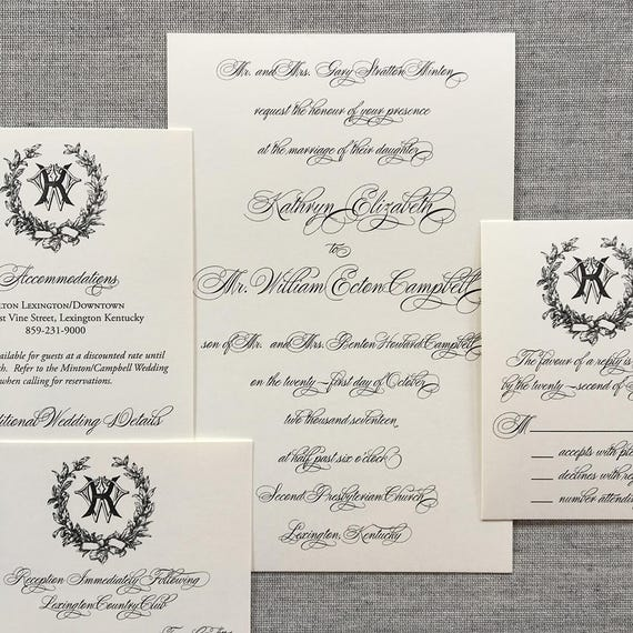 Traditional Victorian Magnolia Wreath wedding invitation, in gray