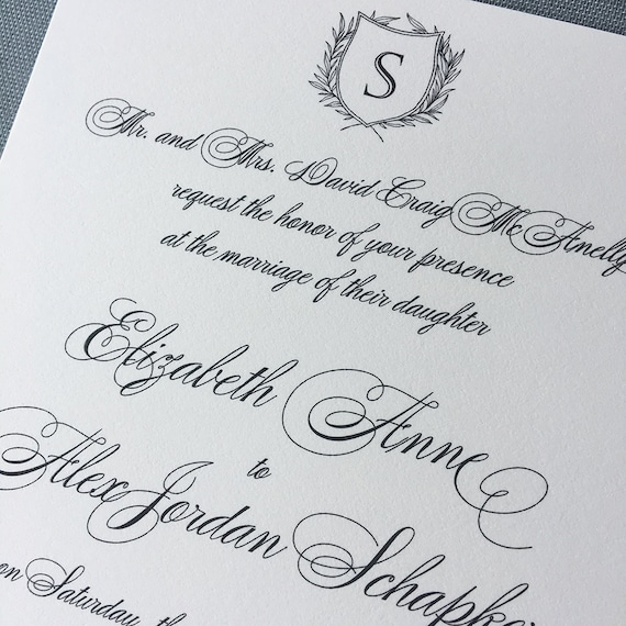 Traditional Laurel wedding invitation