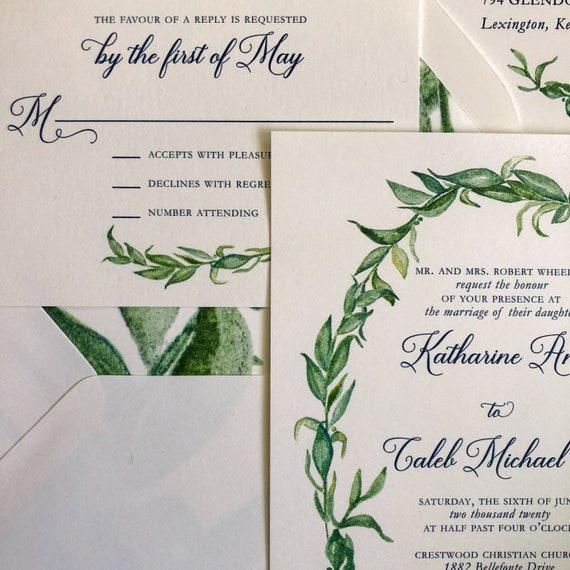 Navy Blue Watercolor Greenery Sample
