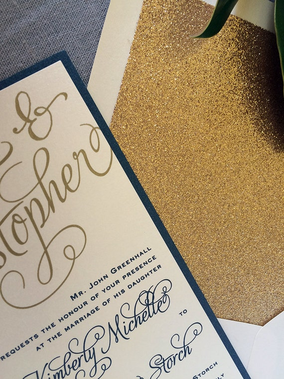 Bold Calligraphy wedding invitations, in navy and gold