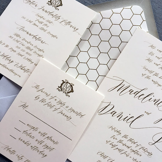 Victorian Modern Madeline thermography wedding invitation sample