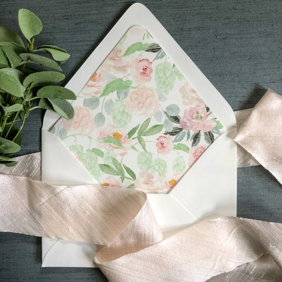 Pastel Pink and Green Floral Envelope Liners
