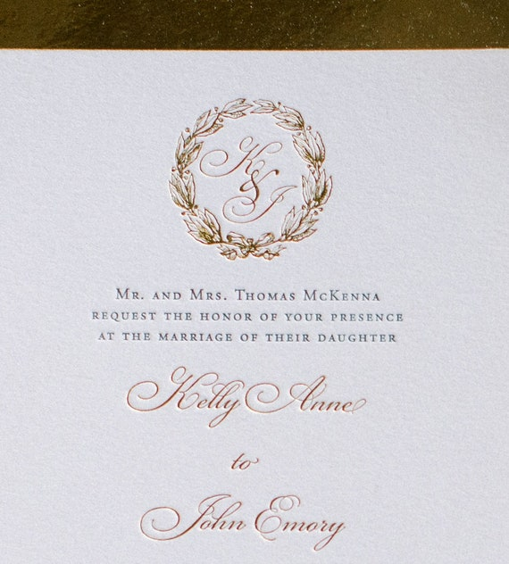 Traditional Wreath foil and letterpress wedding invitation (Sample)