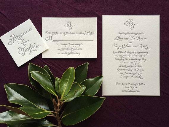 Monogram and Modern Calligraphy letterpress wedding invitation sample