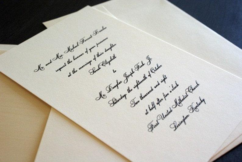 Traditional Script wedding invitation with formal script font