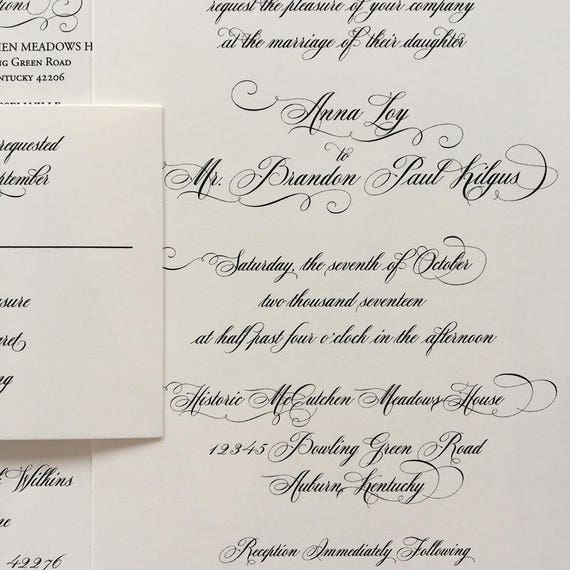 Traditional Script thermography wedding invitation sample