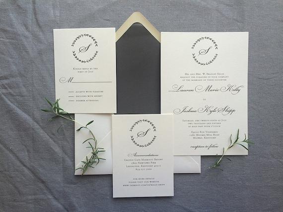 Drawn Laurel thermography wedding invitation sample