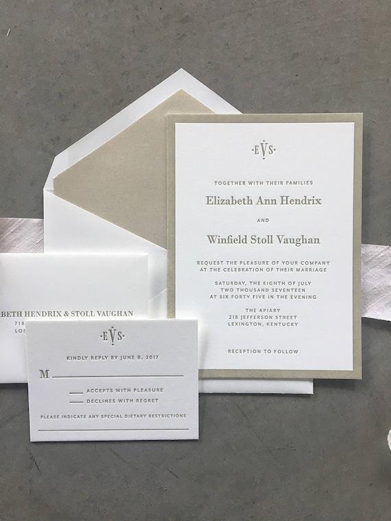 Classic Vaughan letterpress wedding invitation (Sample)