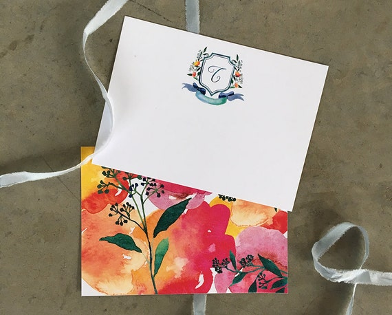 Watercolor Crest personalized note cards