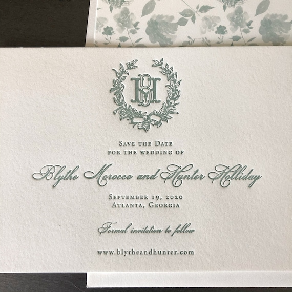 Letterpress Victorian Magnolia Wreath Save the Date Cards