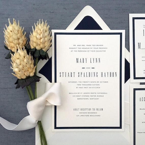 Edition thermography wedding invitation sample