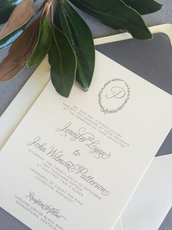 Asheville wedding invitation, in light gray
