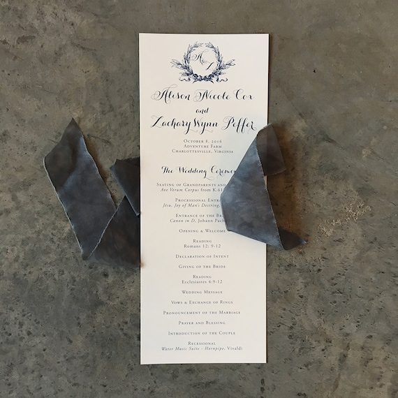 Southern Magnolia tea length wedding ceremony program