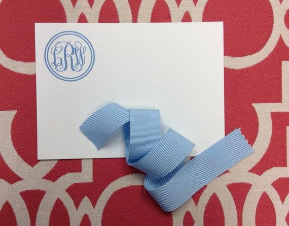 Encircled Vine Monogram Personalized Stationery - flat cards