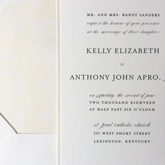 Sweet Simplicity thermography wedding invitation sample