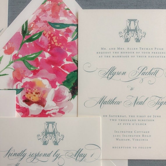 Victorian Monogram wedding invitation
