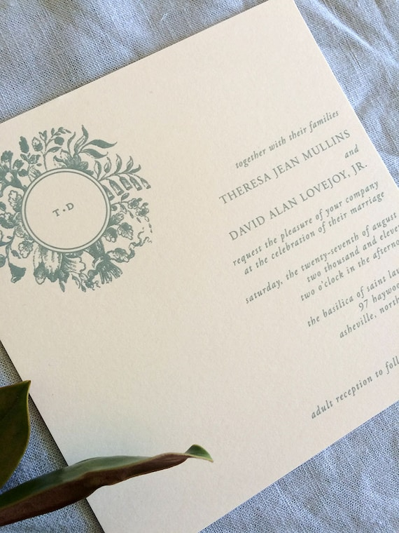 Victorian Wreath wedding invitation