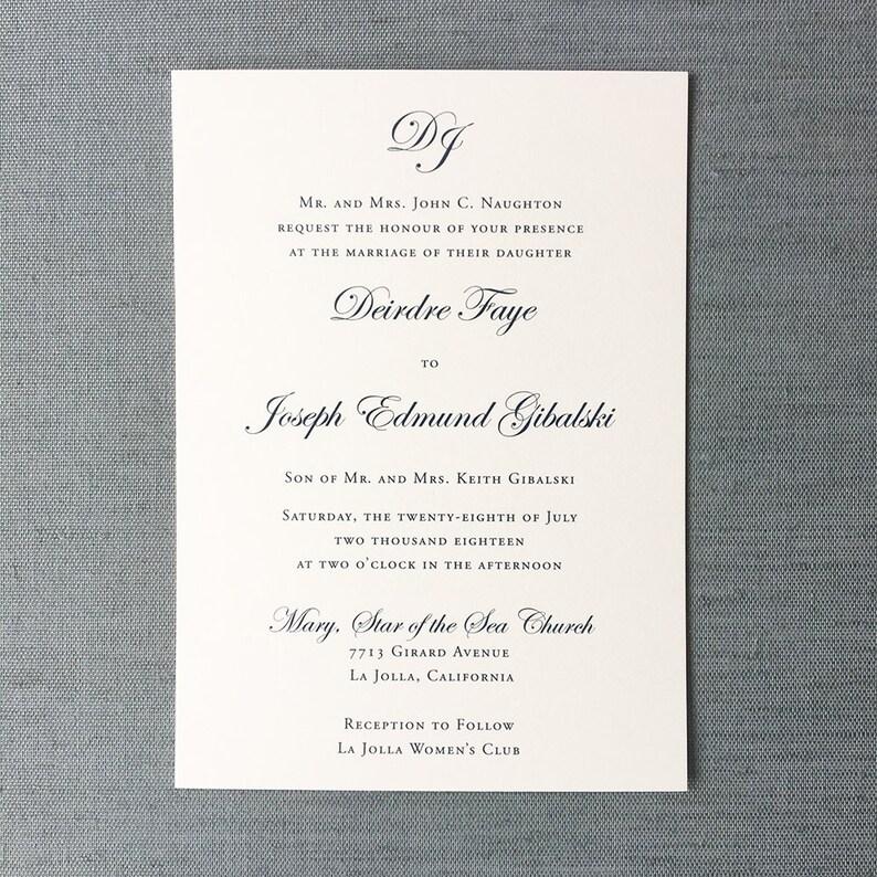 Monogrammed Simplicity wedding invitation