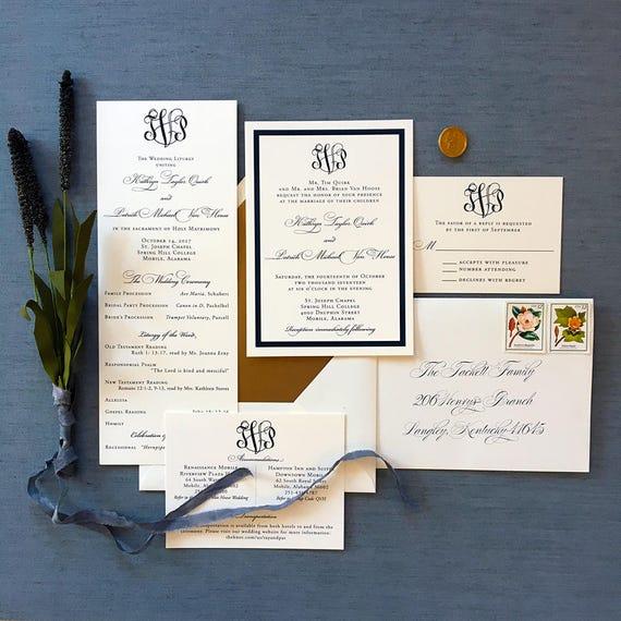 Framed Classic Monogram wedding invitations