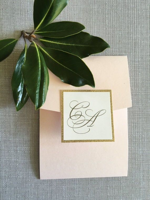 Pocket Style Traditional Initials wedding invitation (Sample)