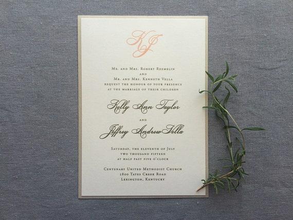 Simple Monogram thermography wedding invitation sample