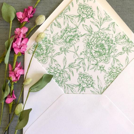 Drawn Peonies Envelope Liners