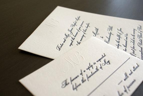 Biltmore embossed and letterpress wedding invitation